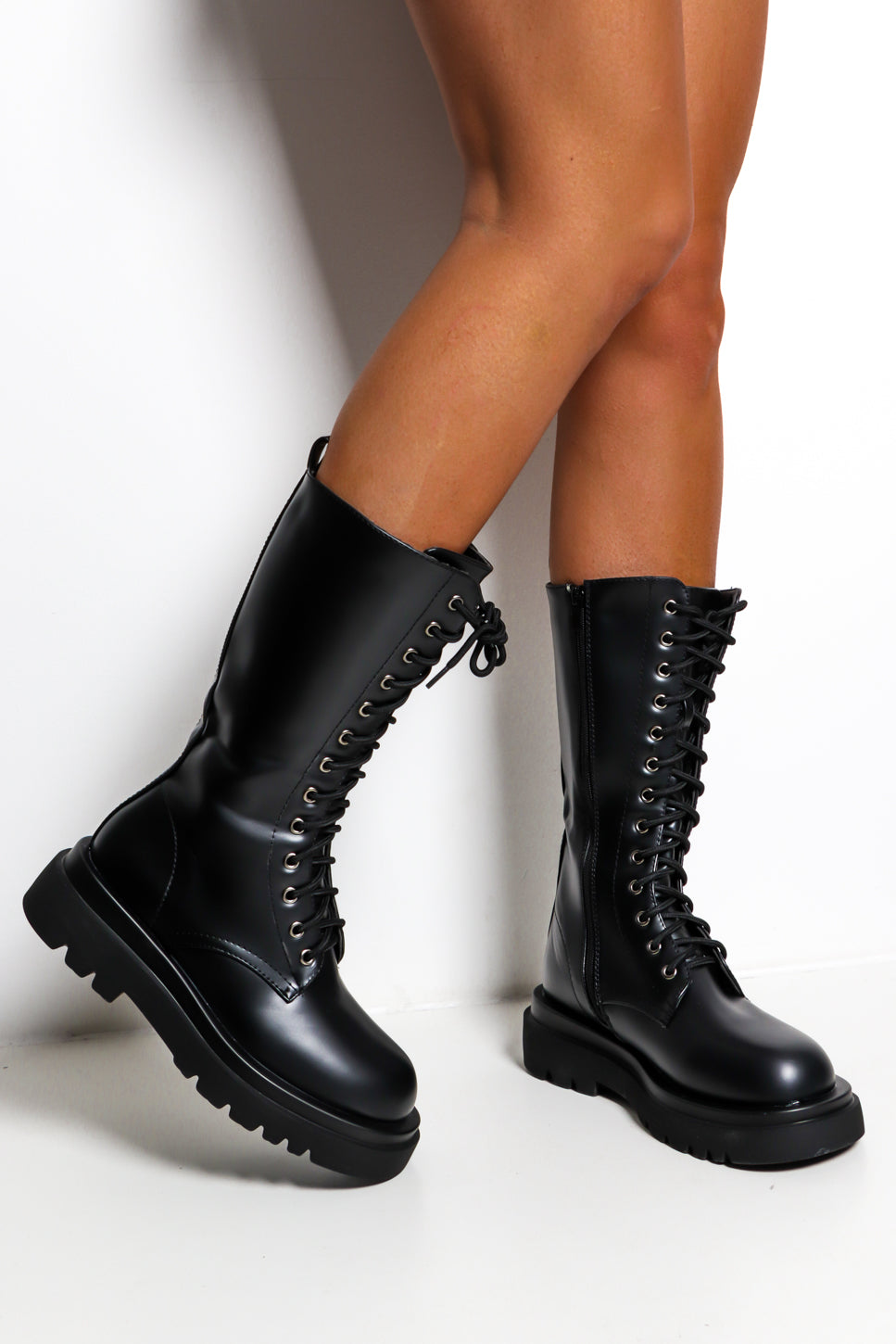DM Me - Black Lace Up Boot