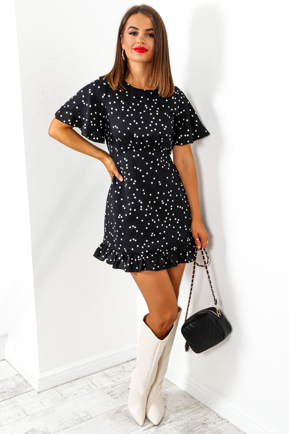 Dance For Me - Black White Polka Dot Swing Mini Dress