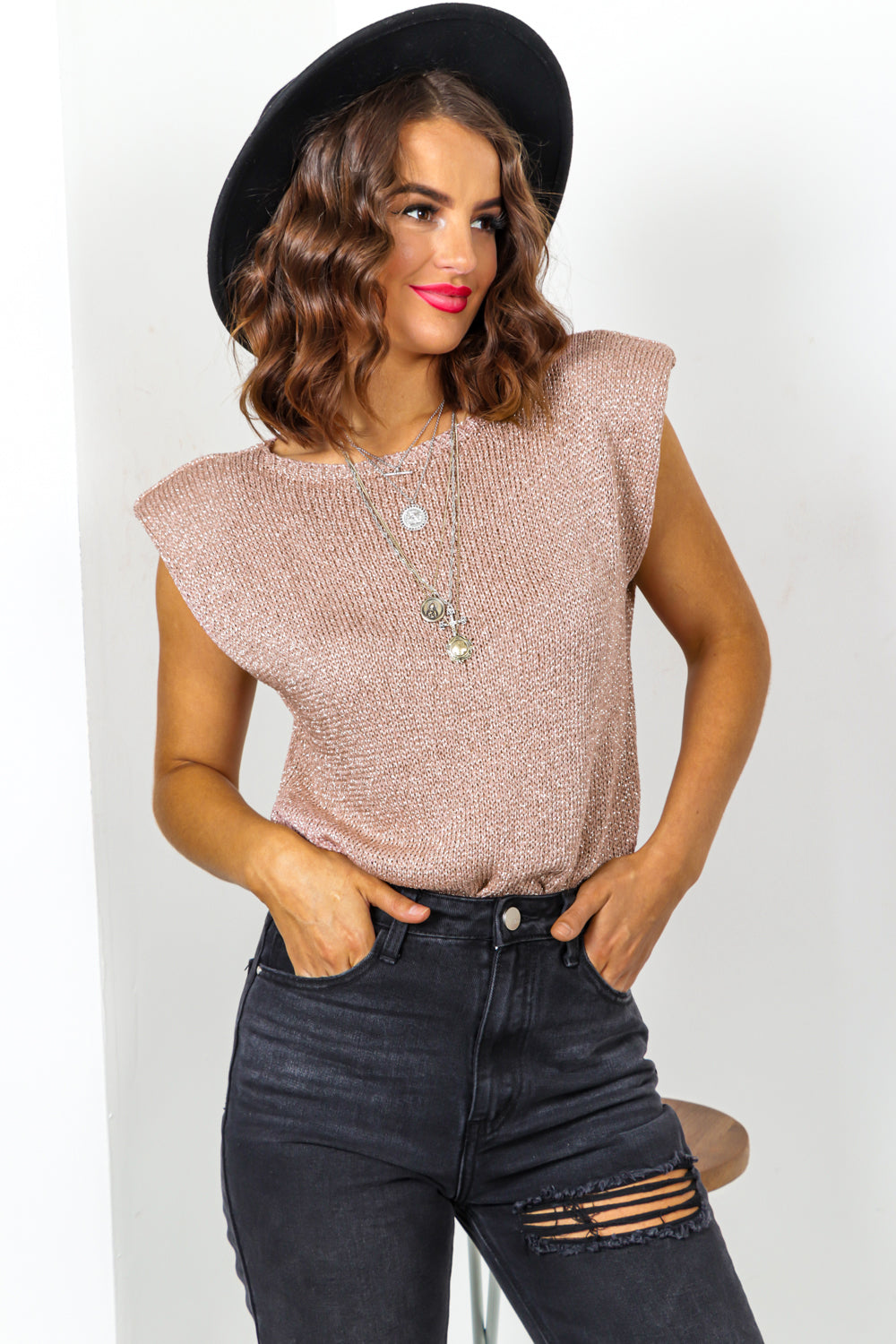 Rose Gold Glitter Knitted Top