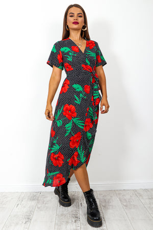 Definitely, Midi - Black Red Floral Print Midi Dress
