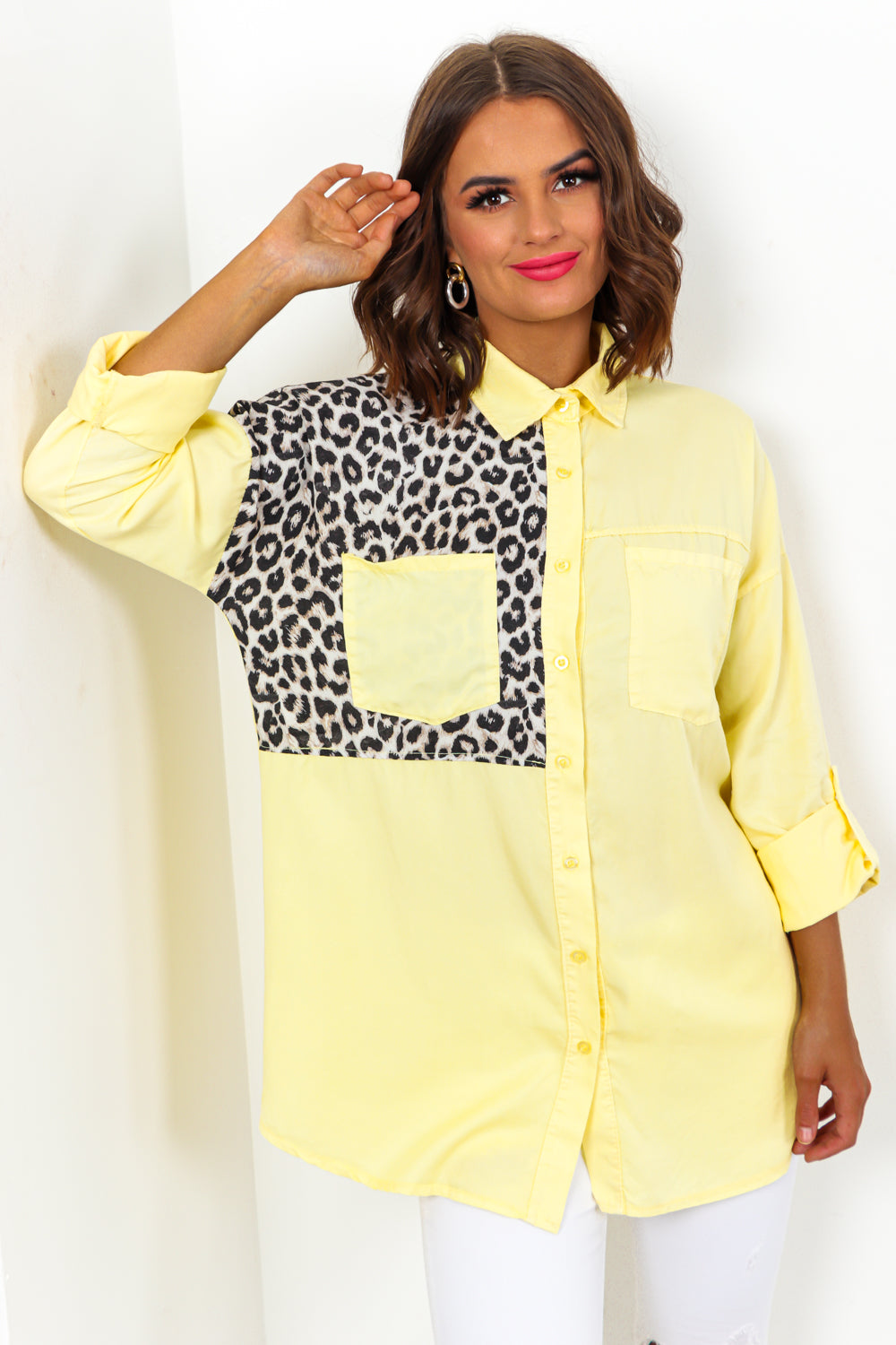 Cat Me Some Slack - Shirt In LEMON/DENIM