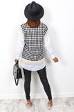 Do It For The Gram - Black Cream Houndstooth Knitted Tank Top