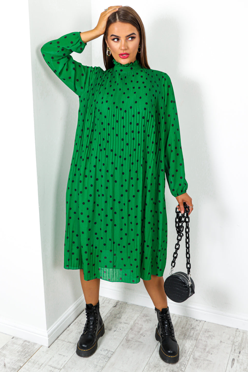 Don't Blend In - Green Black Polka Dot Print Pleated Midi Dress