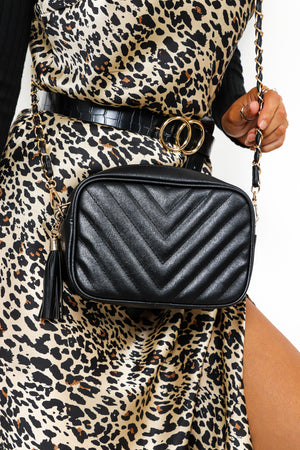 Don't Cross Me - Black Gold Quilted Bag