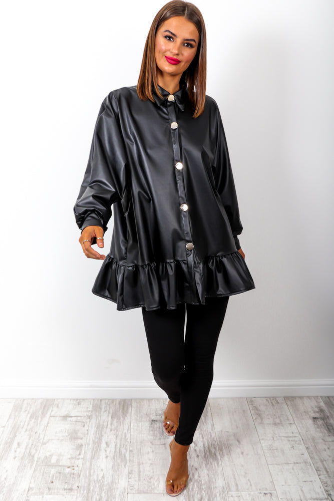 Don't Push My Buttons - Black PU Blouse