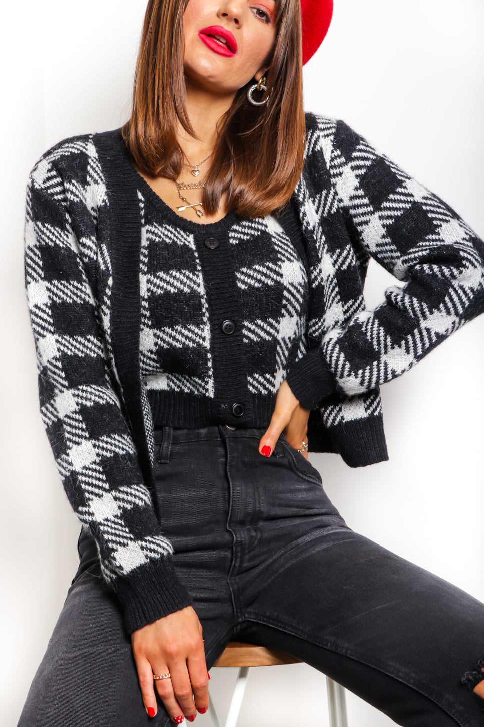 Don't You Square - Black White Knitted Co-ord