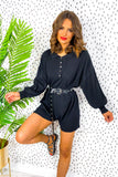 Don't Play Me - Black Ribbed Knit Playsuit