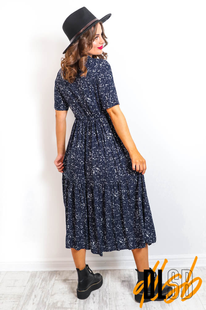Don't Shirt Me - Navy Print Midi Dress