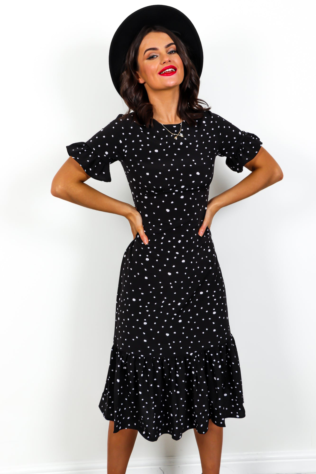 Dot To Dot - Dress In BLACK