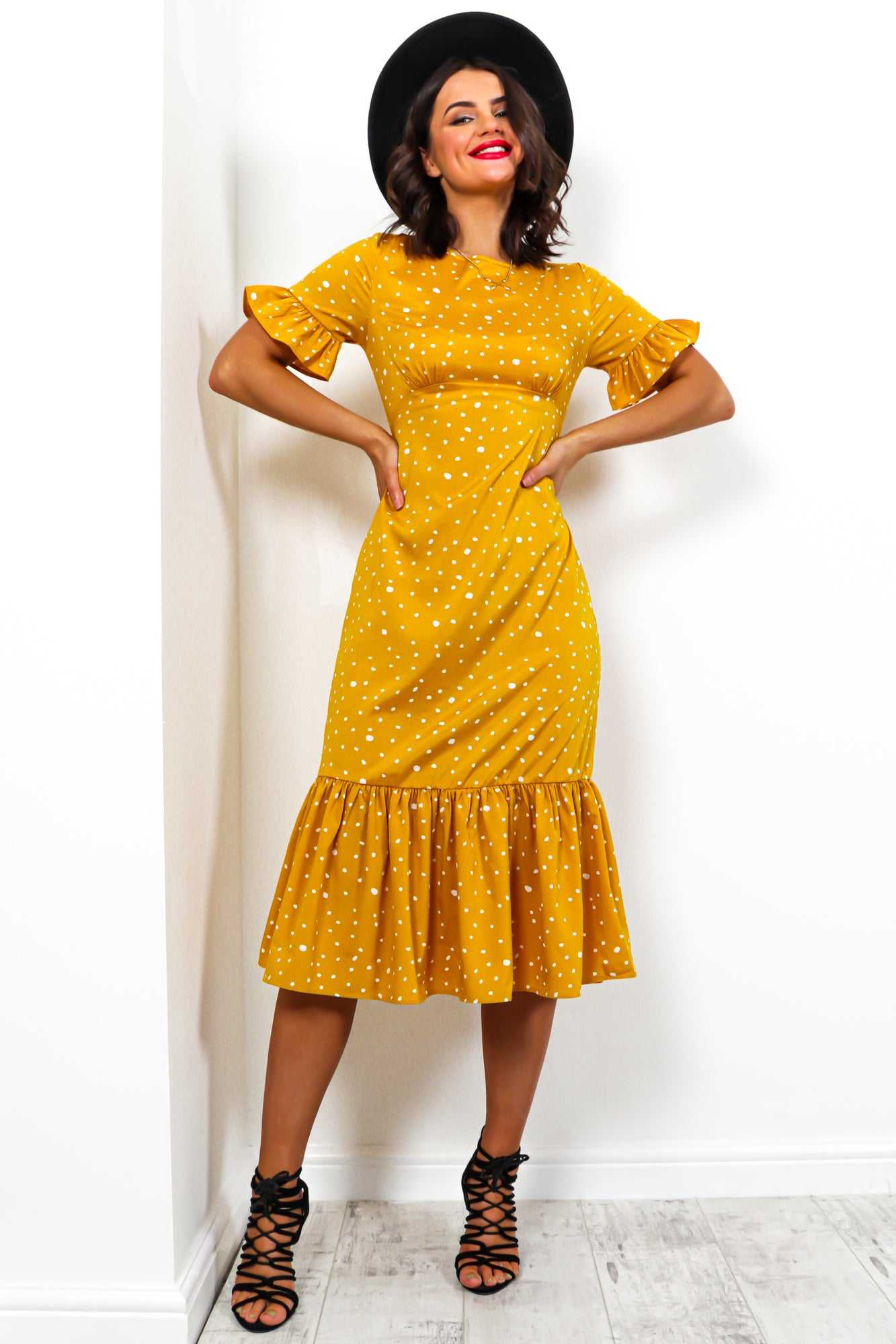 Dot To Dot - Dress In MUSTARD