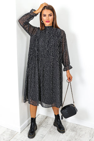 Dot's Up? - Black White Pleated Midi Dress