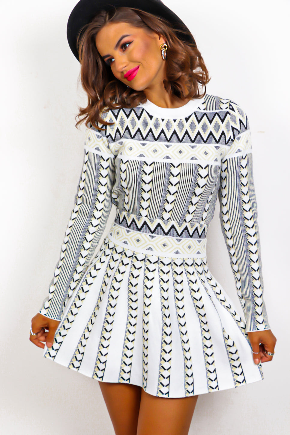 Double Up - White Print Knitted Co-ord