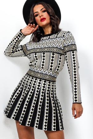 Double Up - Black Print Knitted Co-ord