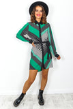 Green Multi Print Shirt Dress