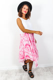 Midi dress pink tie dye -DLSB womens fashion