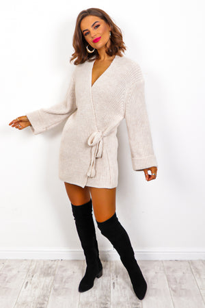 Easy As Tie - Beige Cable Knit Cardigan