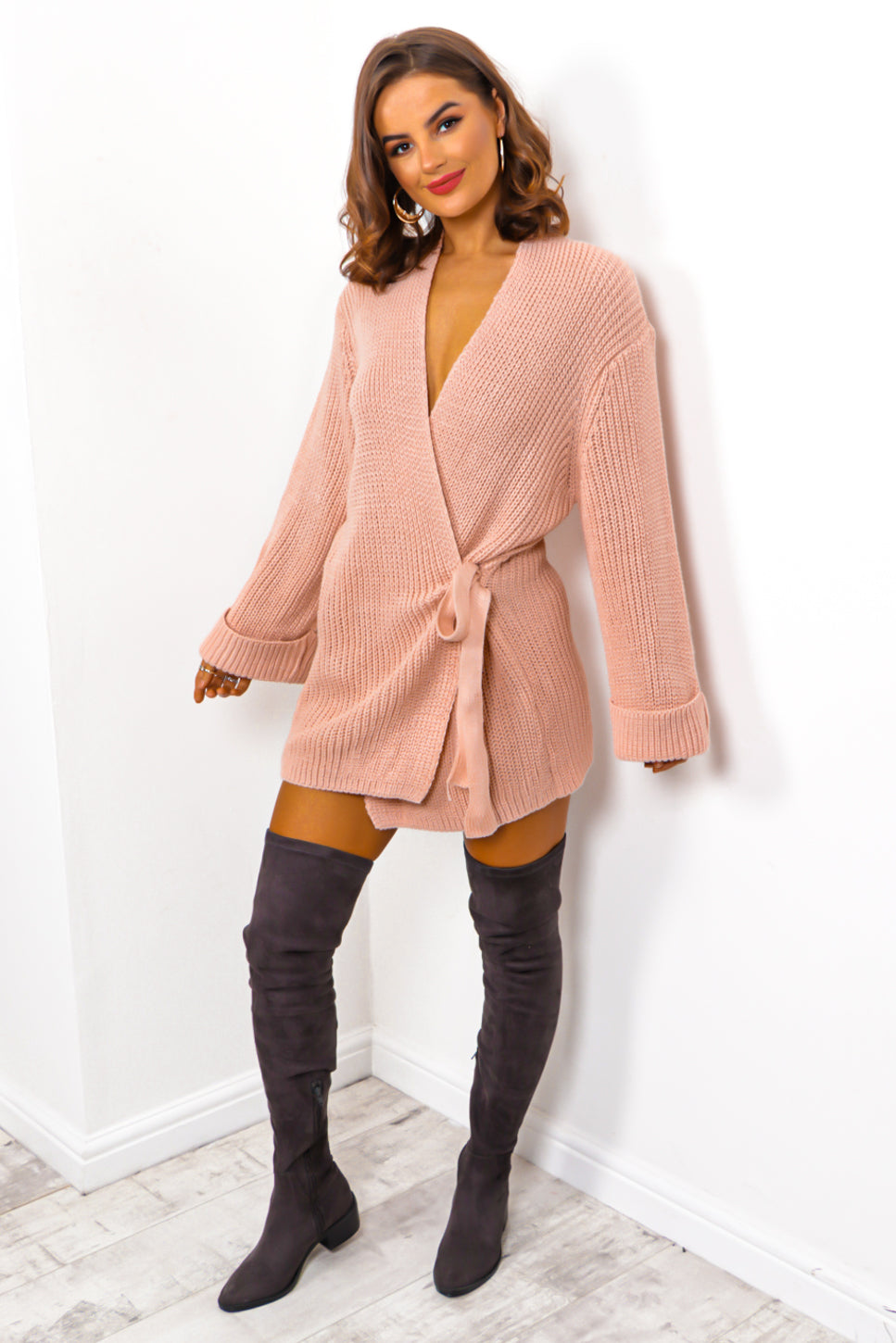 Easy As Tie - Blush Cable Knit Cardigan