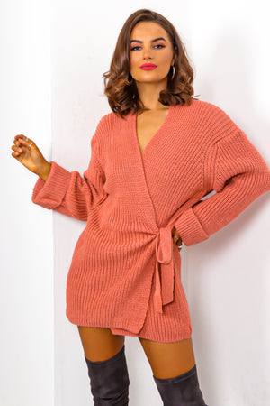 Easy As Tie - Pink Cable Knit Cardigan