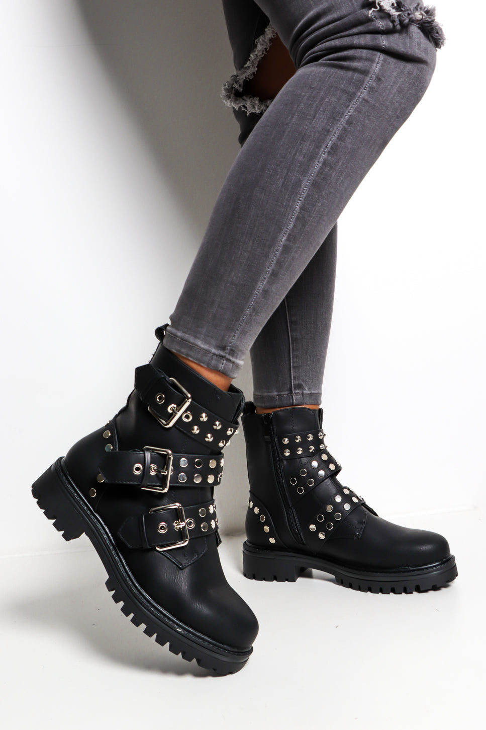 Eye Of The Biker - Black Buckled Boot
