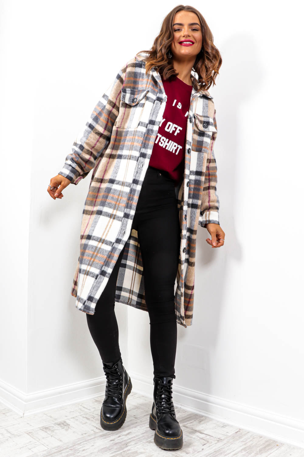 Fashion First - Beige Multi Check Long Shacket