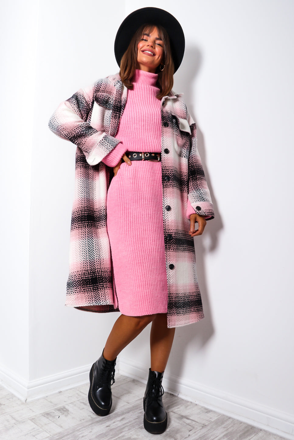 Fashion Forward - Pink Check Long Shacket