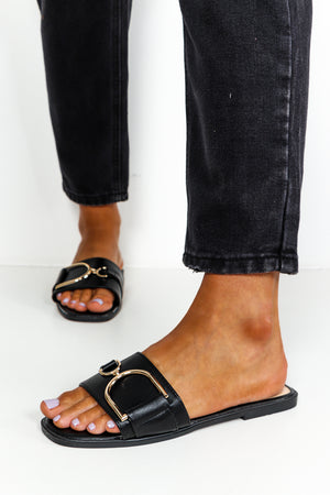 Black Flat Slide On Sandals With Gold Metal Detail DLSB Womens Fashion
