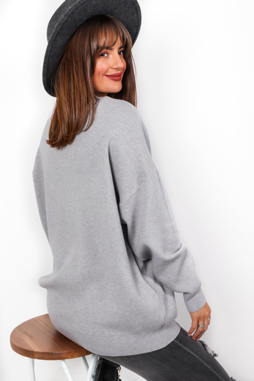 Favourite Pearl - Grey Knitted Jumper
