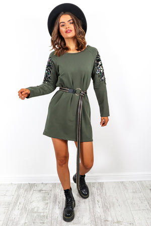 Feather Let Me Go - Khaki Sequin Arm Jumper Dress