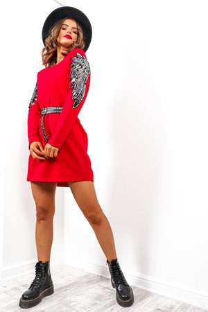 Feather Let Me Go - Red Sequin Arm Jumper Dress