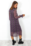 Feel The Flower - Black Purple Floral Midi Dress