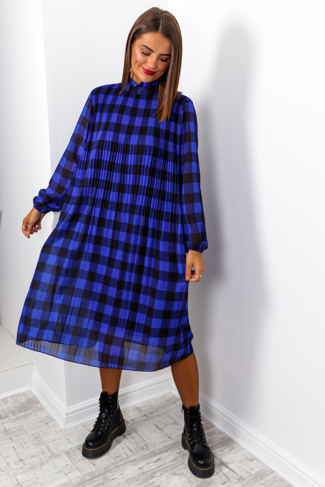Feeling Feisty - Cobalt Black Check Print Pleated Midi Dress