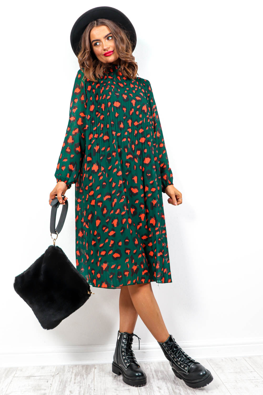Feeling Feisty - Forest Orange Print Pleated Midi Dress