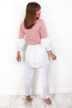 Feeling Frilly - Pink Knitted Jumper Dress