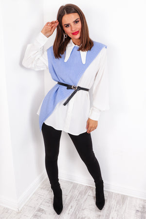 Feeling Shirt - Blue White Co-ord