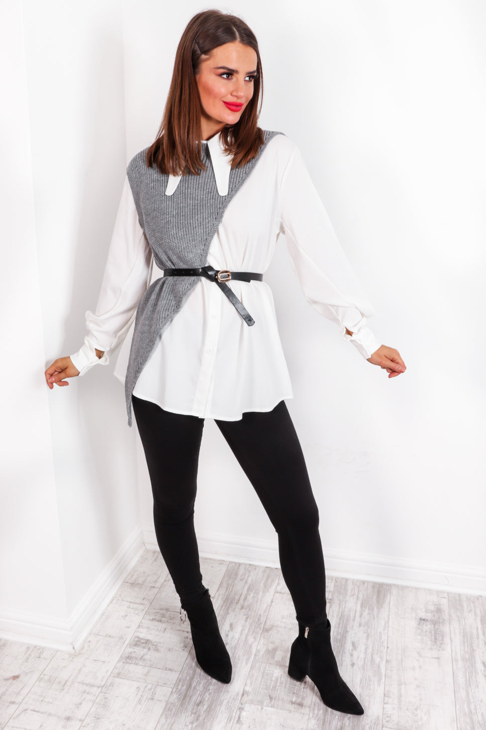 Feeling Shirt - Grey White Co-ord