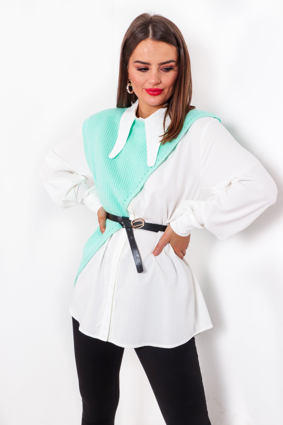 Feeling Shirt - Mint White Co-ord