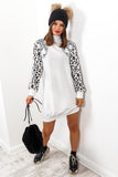 Feline Fly - White Leopard Jumper Dress