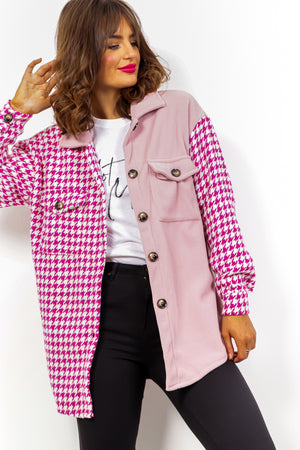 Fight The Feeling - Pink Houndstooth Fleece Shacket