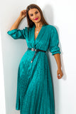 Finest Moment - Midi Dress In TEAL/LEOPARD/WESTERN-BELT