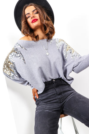 Firecracker - Grey Sequin Knitted Jumper
