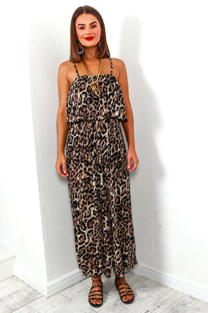Jumpsuit Pleated Leopard Print- DLSB Women's Fashion