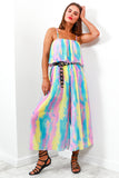 Jumpsuit Pleated Multi Tie Dye- DLSB Women's Fashion