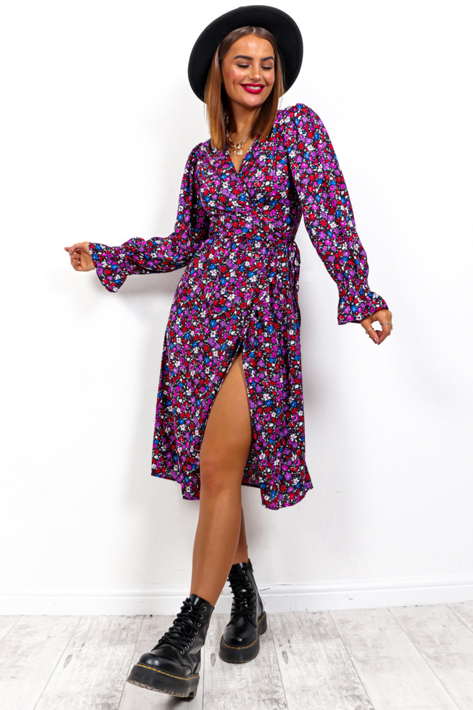 Floral Fashion - Multi Floral Midi Wrap Dress