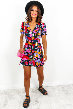 Mini Wrap Dress Floral Print- DLSB Womens Fashion
