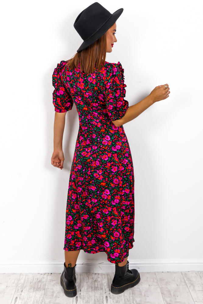 Flower Bomb - Fuchsia Multi Floral Midi Dress