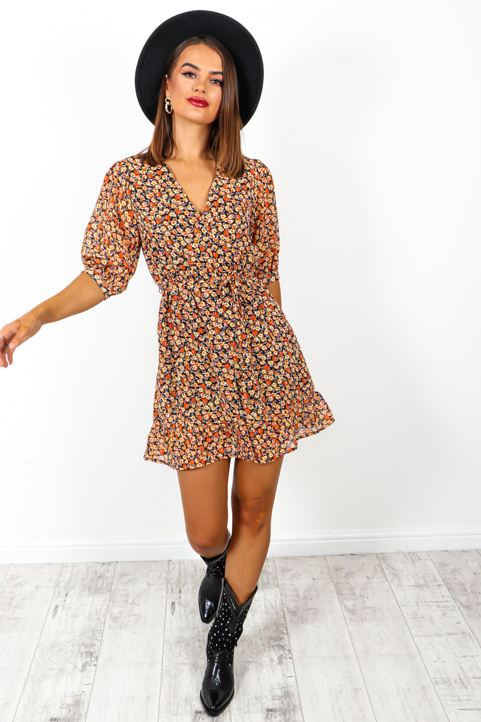 Flower Forward - Orange Floral Mini Tea Dress
