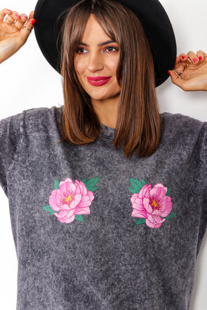 Flower Fun - Grey Pink Acid Wash T-shirt