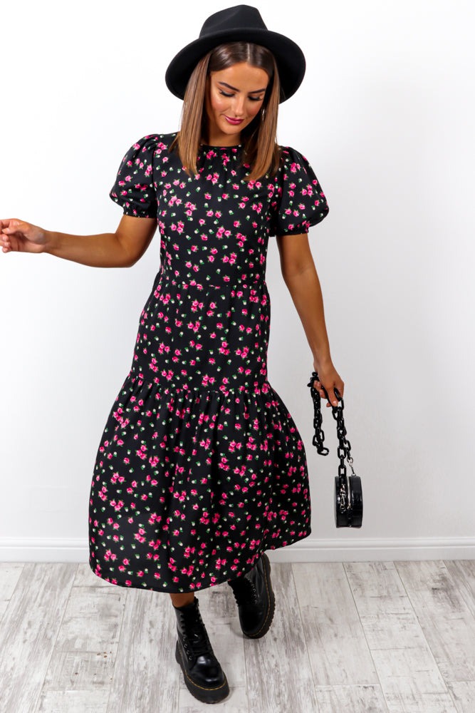 Flowers Forever - Black Floral Midi Dress
