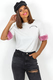 White Pink Fur Trim Slogan Top