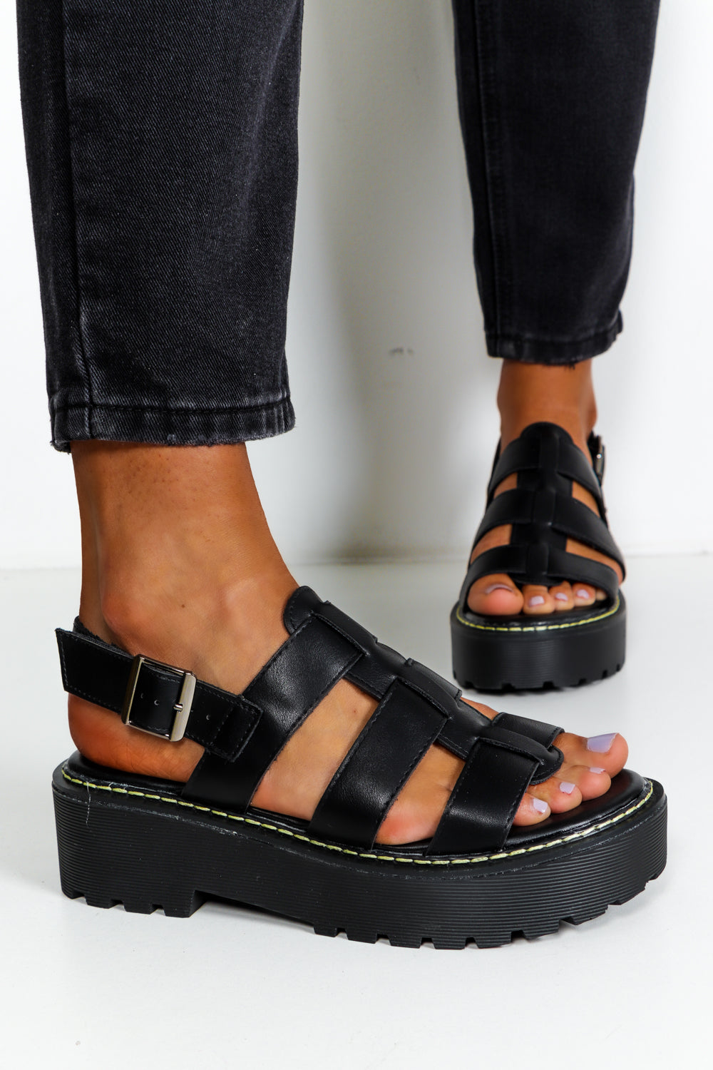 Black Faux Leather Chunky Sandals DLSB Womens Fashion